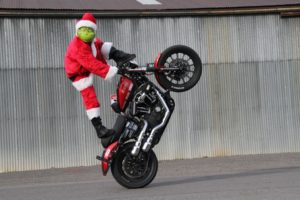 harley davidson wheelie, the grinch, christmas
